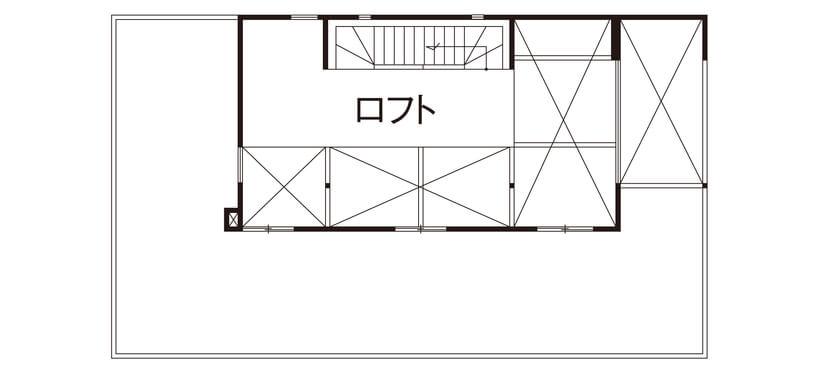 ロフトのある2階建ての間取り④ガレージ、屋上庭園、海の見えるロフト