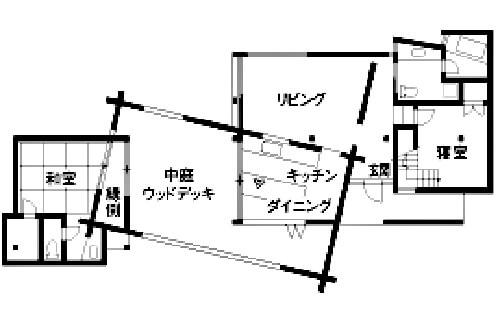 ログハウス風の平屋間取①黒塗り丸太と広い中庭ウッドデッキが面白いの本格的ログハウス