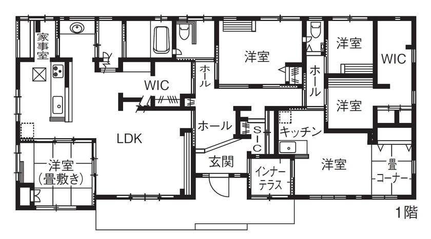 5LDK平屋の間取り①ミニキッチンとインターテラス付き洋室のあるユニーク間取り