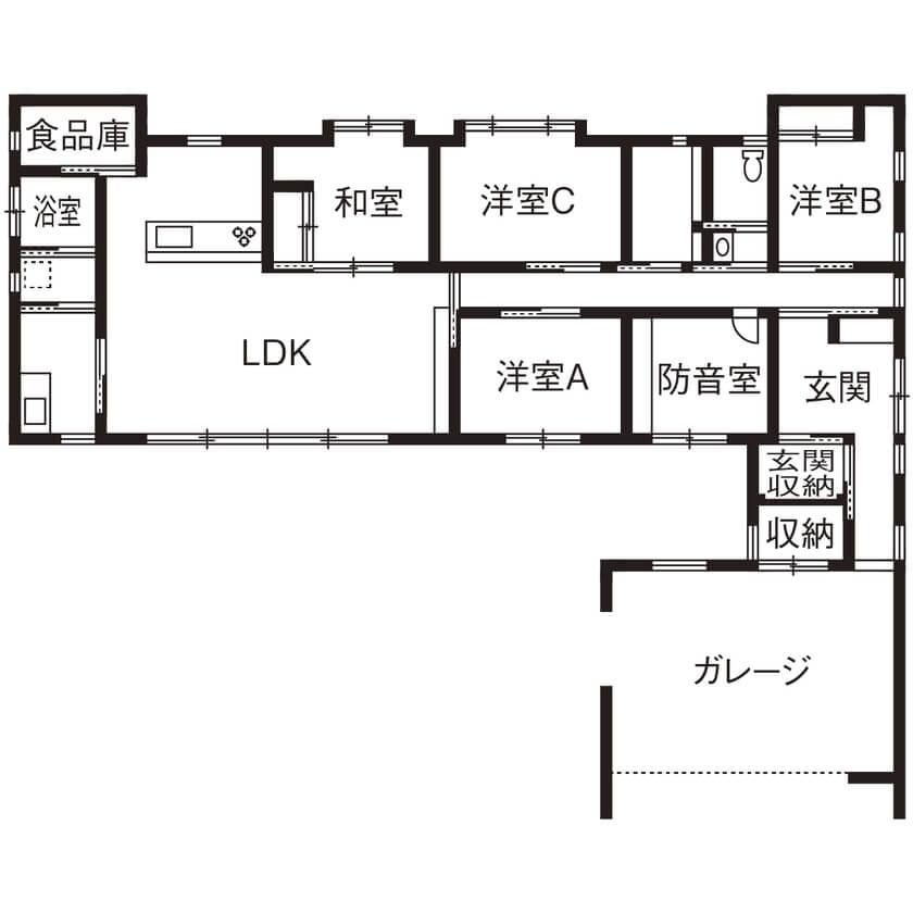 5LDK平屋の間取り④インナーガレージと趣味部屋のあるL字型平屋
