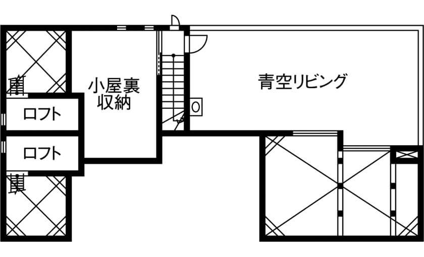 屋上のある平屋の間取り/小屋根裏の反対側を活用した青空リビング