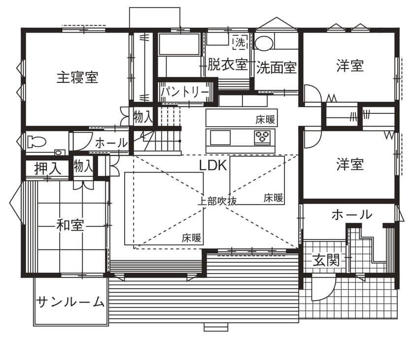 サンルームのある平屋②和室隣接型/