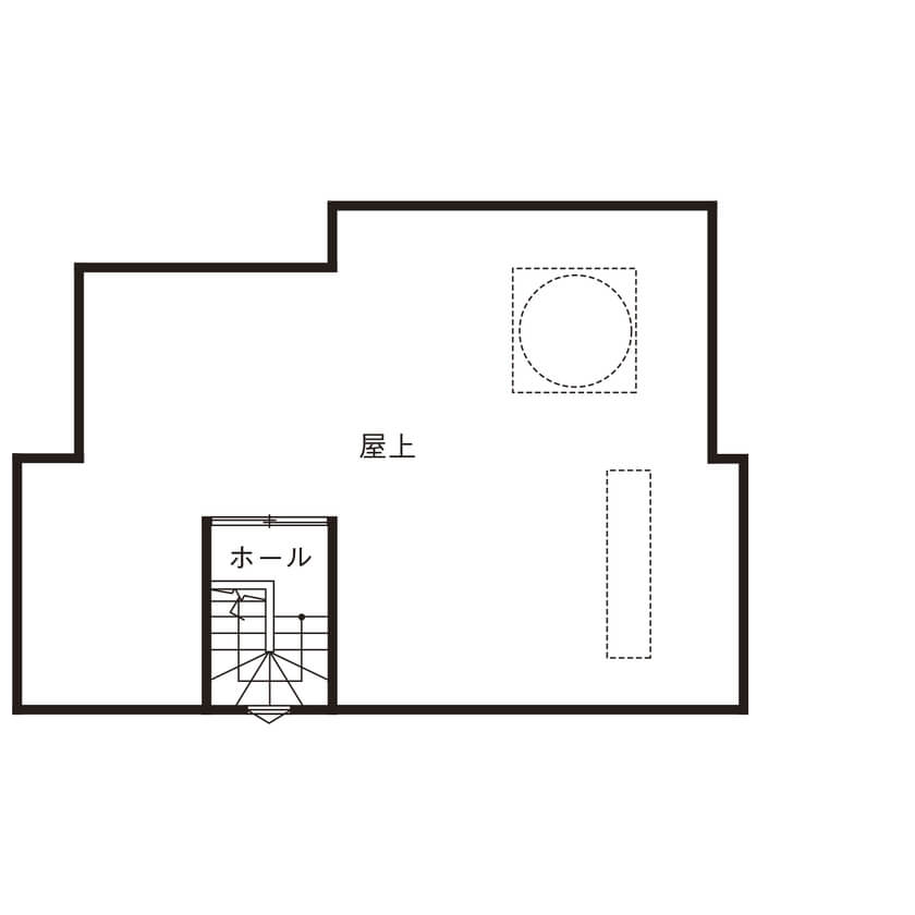 屋上のある2階建ての間取り/豪華すぎるアウトドアリビングは物干し場としても活用