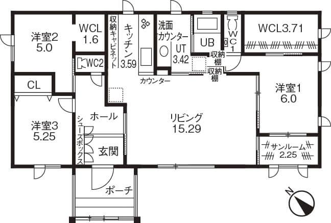 サンルームのある平屋③リビング回遊型/LDKと寝室の両方からアクセス可能