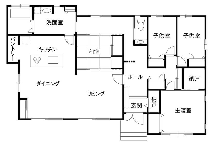 ②シンプル家事動線+機能性のある洗面室を備えた平屋の間取り