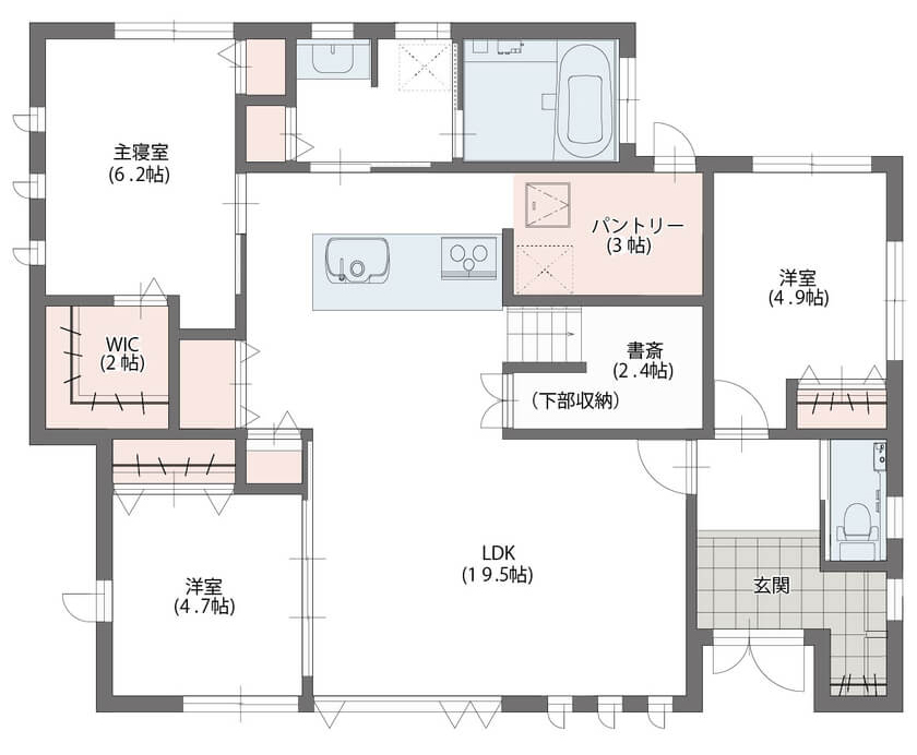 ①キッチン+パントリーを中心に生活導線を整えた家/老後も暮らしやすい平屋の間取り