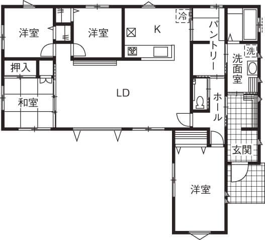 リビングが特徴的な平屋の間取り事例②22畳の広々リビングで暮らしやすいL字型