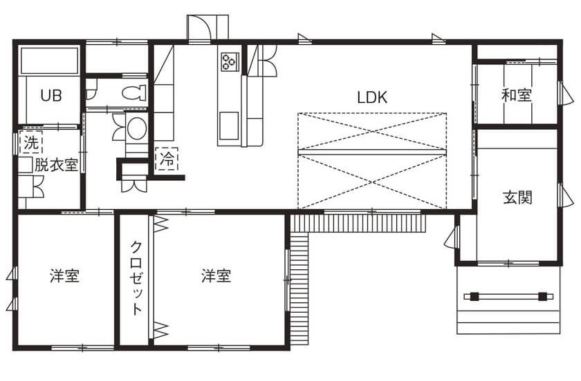シニアに人気の平屋の間取り②/和モダンデザイン・古民家カフェのような平屋の家