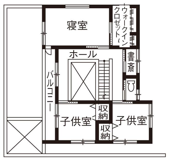 4人家族の間取り②【36坪の2階建て】正方形の建物と吹き抜けを活かした総二階