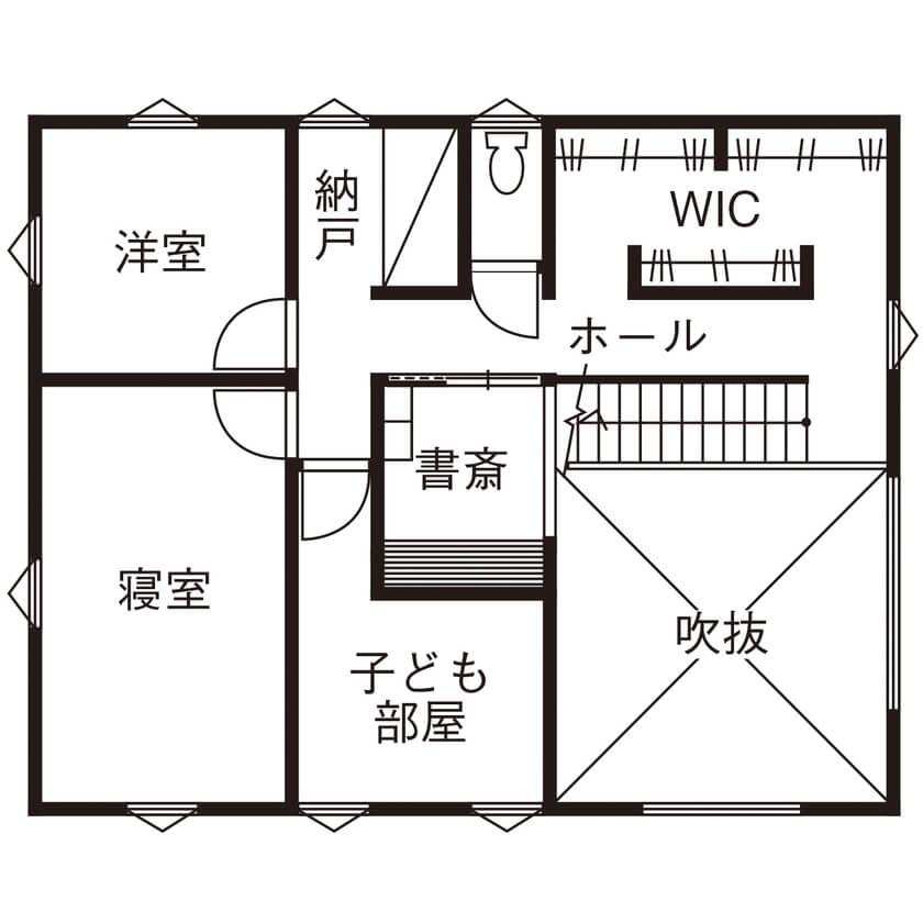 子ども一人・3人暮らしの間取り【2階建て】大きな家族共用収納で、各部屋をシンプルかつ広く活用